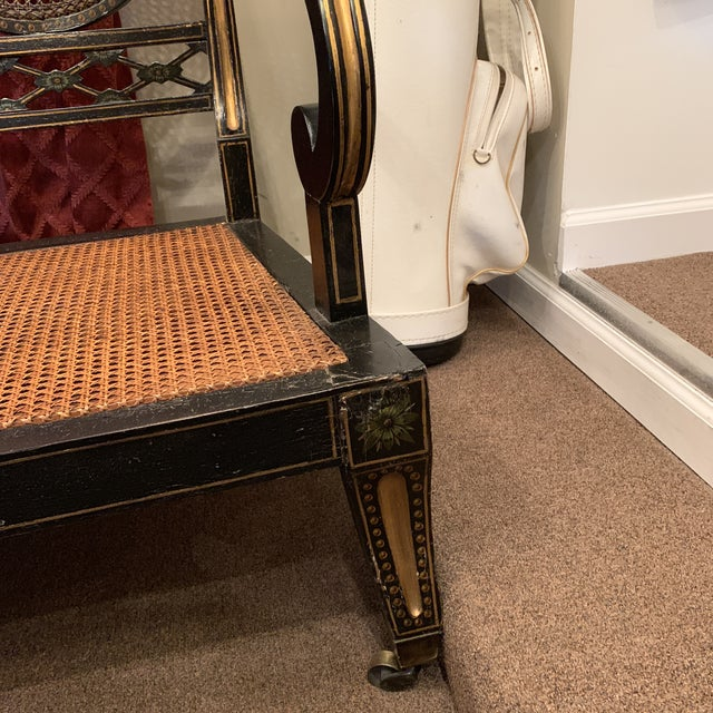 Mid 19th Century Ebonized English Regency Settee With Cane on Casters For Sale - Image 9 of 13