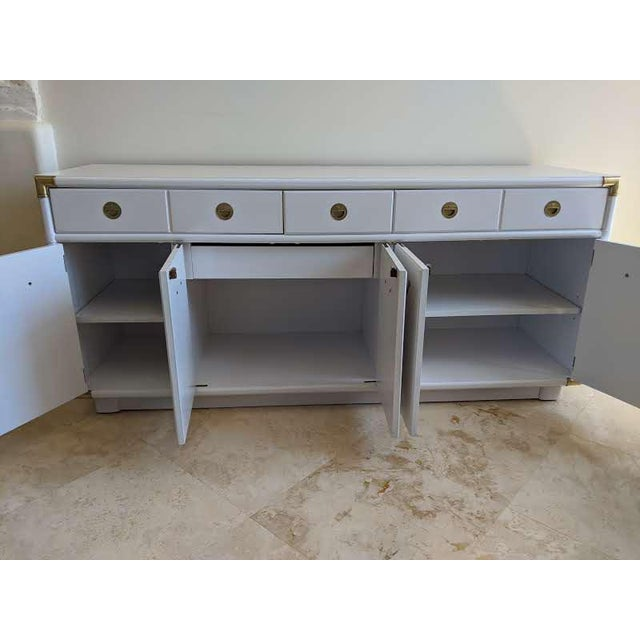 Drexel 1970s Campaign Drexel Accolade White Credenza For Sale - Image 4 of 11