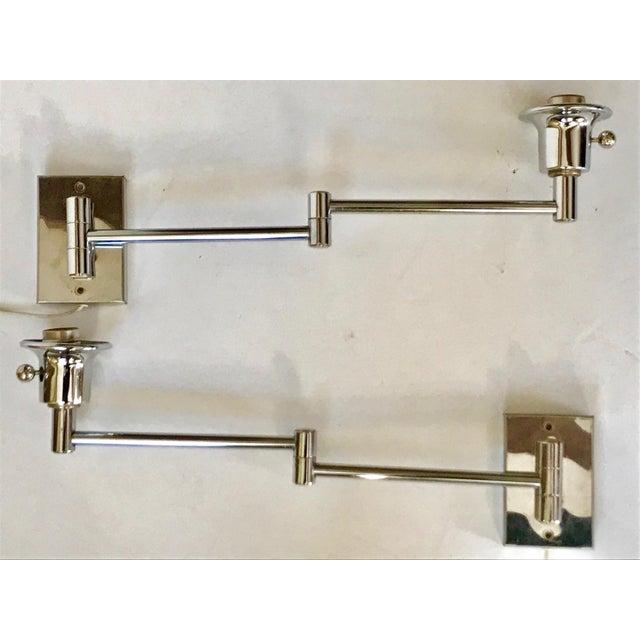 Chrome Swing Arm Sconces - A Pair - Image 2 of 4