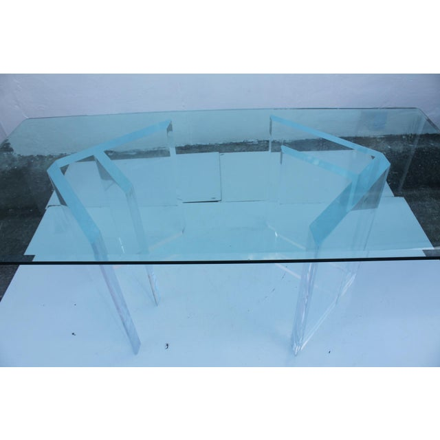 Sculptural Lucite & Glass Dining Table - Image 5 of 11