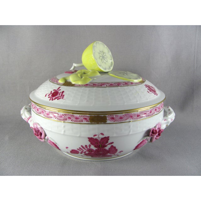 Herend Chinese Bouquet Raspberry Bean Pot Tureen With Lemon Finial For Sale - Image 10 of 10
