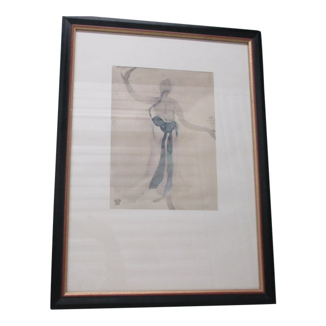 Vintage Framed Rodin Watercolor Prints From Rodin Museum in Paris For Sale