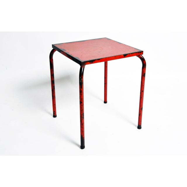 Metal 1960s French Rustic Red Café Table For Sale - Image 7 of 7