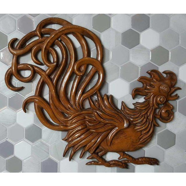 1960s Vintage Fighting Roosters Wall Decor- A Pair For Sale - Image 4 of 11