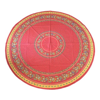 Red French 70 Inch Round Bistro Tablecloth 100% Cotton Made in France by Le Cluny For Sale