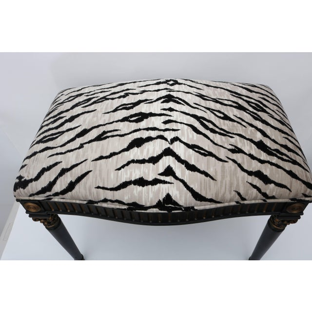 This stylish Louis XVI style bench was recently acquired for a Palm Beach estate. The piece is upholstered in a woven...