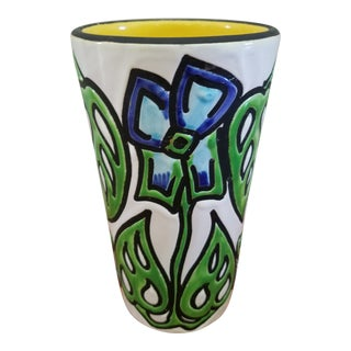 1980s Italian Floral Design Ceramic Vase For Sale
