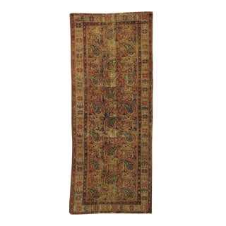 Distressed Antique Persian Gallery Rug For Sale