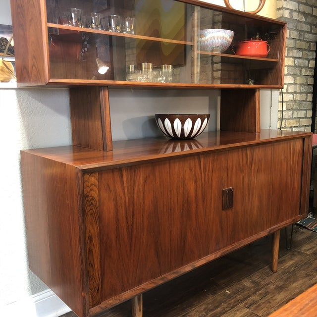 Glass 1960s Danish Modern Rosewood Ib Kofod Larsen Faarup Mobelfabrik Credenza With Hutch Top For Sale - Image 7 of 13