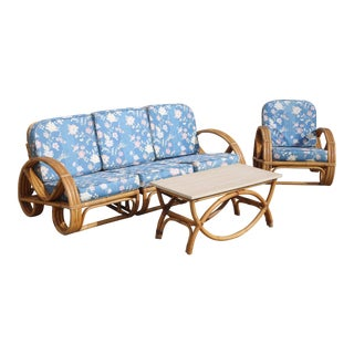 1960s Vintage Bent Rattan Pretzel Seating Set- 3 Pieces For Sale