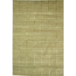 Modern Decorative Wool With Part Silk Tibetan Rug- 4′ × 6′ For Sale