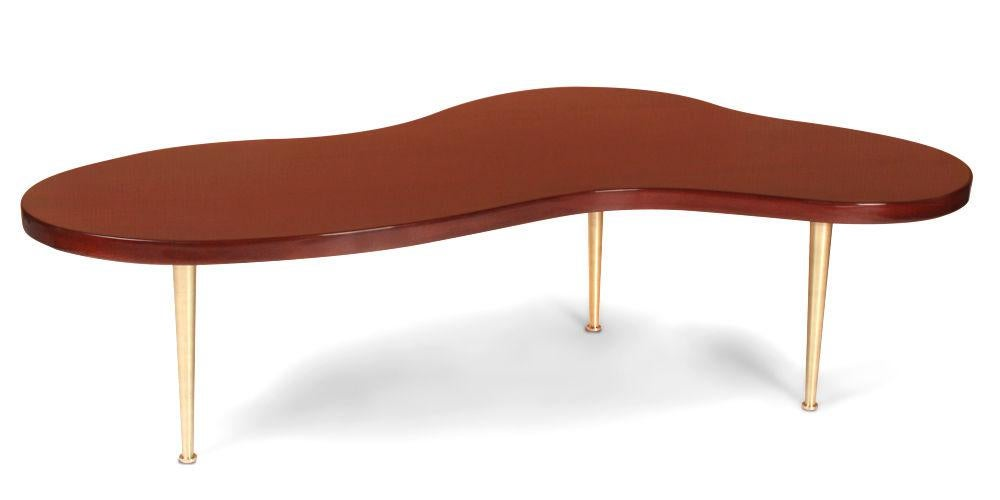 T.H.Robsjohn Gibbings For Widdicomb Biomorphic Walnut Brass Cocktail Table    Image 2 Of 9