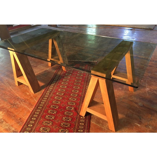 Contemporary Wood & Beveled Glass Executive Desk For Sale - Image 3 of 4