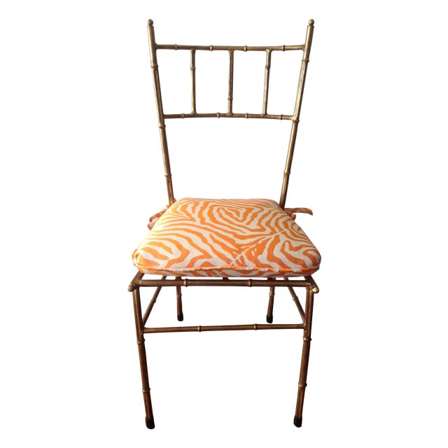 Italian Gilt Metal Faux Bamboo-Style Chair - Image 1 of 7