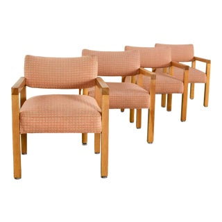 Modern Square Frame Oak Armchairs With Original Blush Textured Fabric, Set of Four For Sale