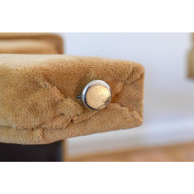 """Vintage Mid Century Tan Mohair """"X"""" Benches- A Pair For Sale - Image 9 of 12"""