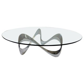 Polish Aluminum and Glass 'Snake' Cocktail Table by Knut Hesterberg For Sale