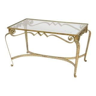 Italian Modern Hand-Hammered Gilt Iron and Glass Low Table, Pier Luigi Colli