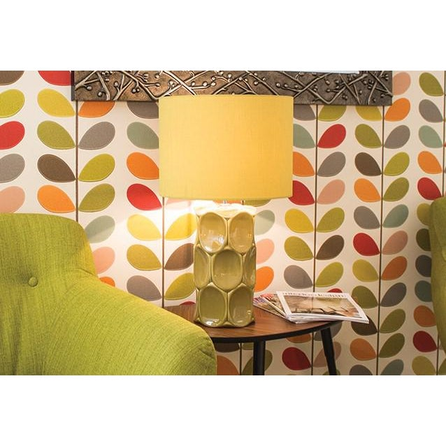 Abstract Modern Green Glaze Ceramic Retro Table Lamp With Shade For Sale - Image 3 of 5