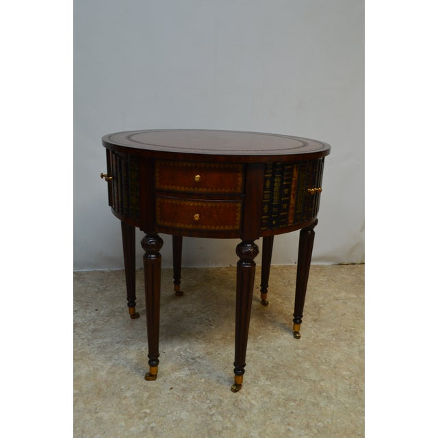 Maitland Smith Mahogany Book Leather Accent Round Hall Table For Sale - Image 11 of 13