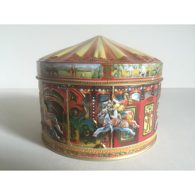 Children's Vintage Churchill's Of London Carousel Candy Tin Box For Sale - Image 3 of 10