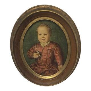 "Early 1900s ""Boy W/ Bird"" Florentine Framed Art For Sale"
