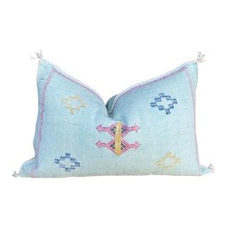 Light Blue Lumbar Moroccan Silk Rug Pillow For Sale