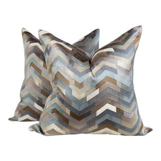 Embroidered Taupe and Blue Chevron Geometric Pillows, a Pair For Sale