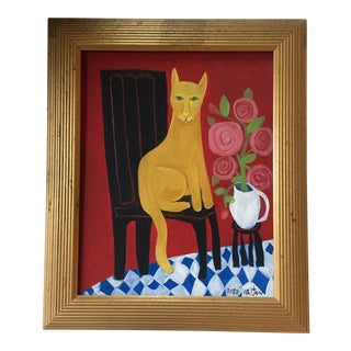 Original Painting Cat Folk Artist Rose Walton