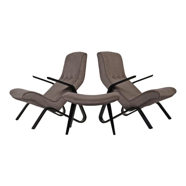 Pair of Early Eero Saarinen Grasshopper Chairs for Knoll With Rare Black Frames For Sale