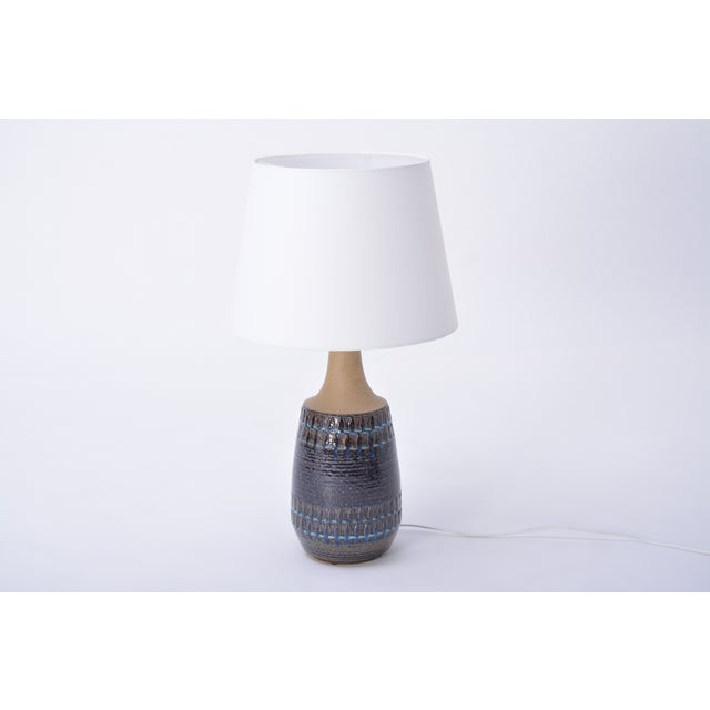 Mid-Century Modern Large Vintage Blue Danish Ceramic Lamp With Geometrical Pattern by Soholm For Sale - Image 3 of 7