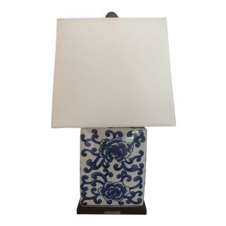 Ralph Lauren Small Chinoiserie Lamp With Linen Shade For Sale