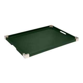 Rita Konig Collection Corners Tray Nickel in Bottle Green / Nickel For Sale