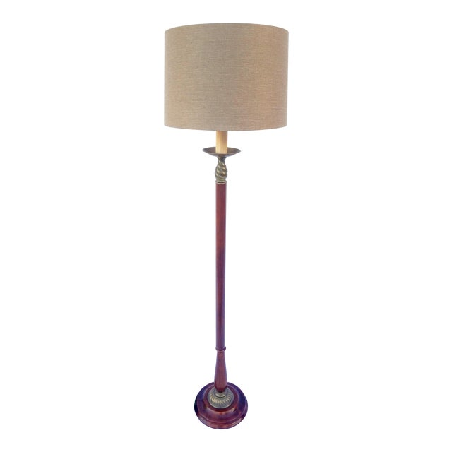 Vintage Mahogany & Brass Floor Lamp For Sale