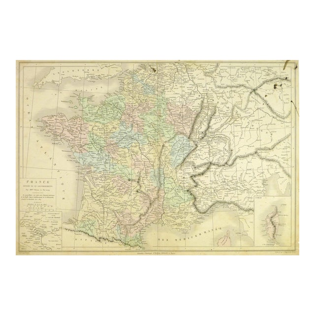 Mountains Of France Map.Antique Map Of France 1860
