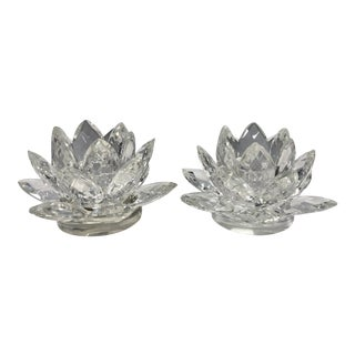 Lotus Crystal Pillar Candle Holders - A Pair For Sale