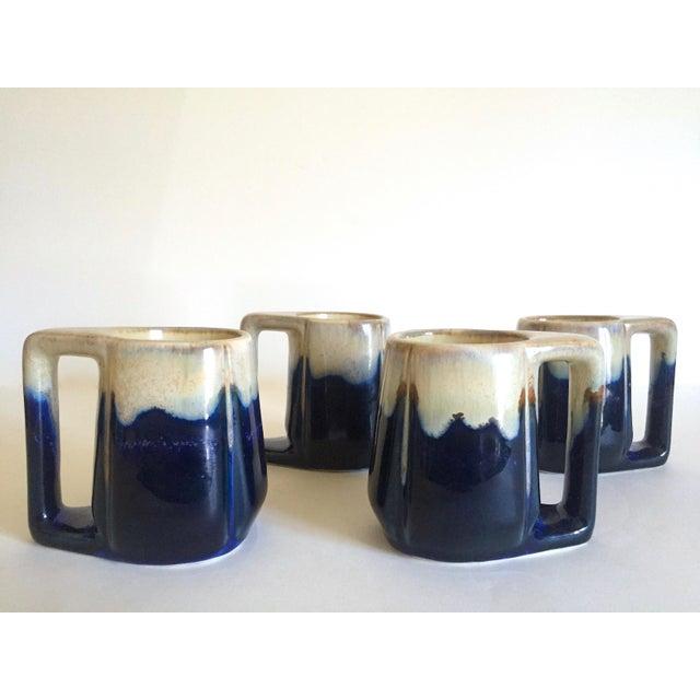 Various Artists Vintage Mid Century Organic Modern Indigo Blue Drip Glaze Ceramic Handled Mugs - Set of 4 For Sale - Image 4 of 13