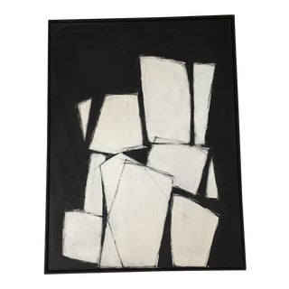 Black and White Rectilinear Abstract Painting