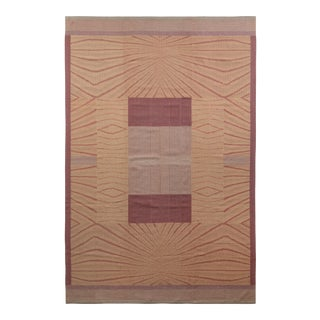 Vintage Art Deco Flat Weave - Beige-Yellow Pink Kilim Rug For Sale