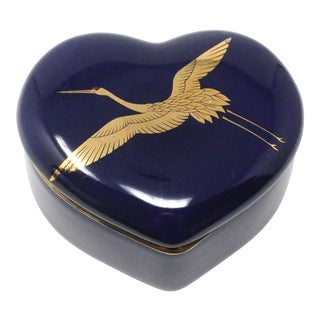 Vintage Takahashi Cobalt Blue Heart Lidded Box With Gold Cranes by Takahashi For Sale
