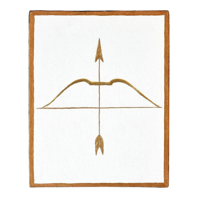 Contemporary Neoclassical Gold Gilt Bow & Arrow Painting For Sale