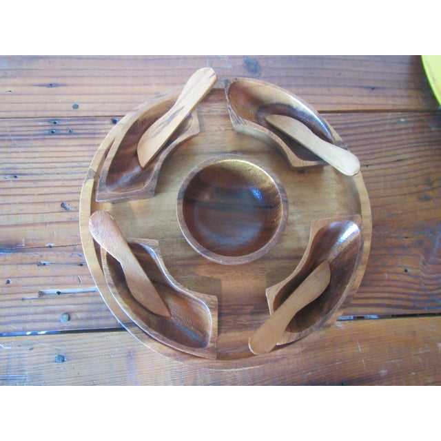 1970s Mid Century Modern Teak Hors d'Oeuvres Serving Tray - 10 Pieces For Sale - Image 6 of 11