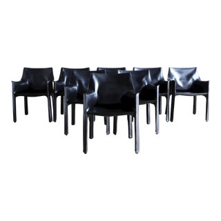 Mid-Century Modern Mario Bellini for Cassina Black Leather Dining Chairs - Set of 8