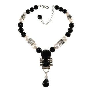 Philippe Ferandis Art Deco Revival Black & Clear Rhinestone Necklace For Sale