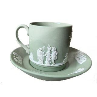 Vintage Wedgwood Jasperware Cream on Sage Green Demitasse Coffee Cup & Saucer For Sale