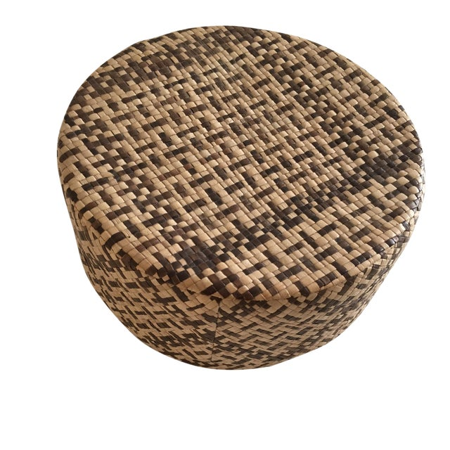 Vintage Woven African Round Box With Lid - Image 1 of 8