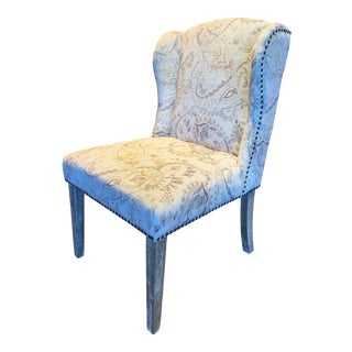 Savannah Paisley Printed Velvet Dining Chair For Sale