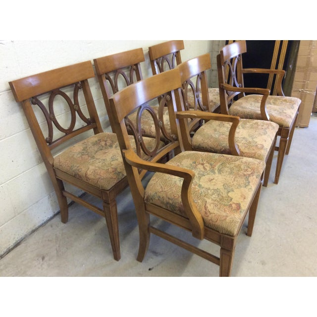 Regency Style Wood Dining Chairs with Brass Accents - A set of 6 - Image 4 of 11