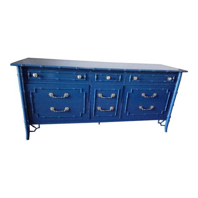 Thomasville Allegro Faux Bamboo High Gloss Blue 9-Drawer Dresser - Image 1 of 5