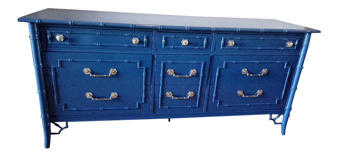 Thomasville Allegro Faux Bamboo High Gloss Blue 9 Drawer Dresser